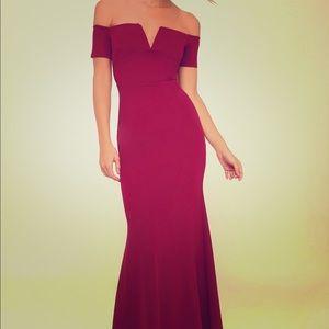 Magenta Off-the-Shoulder Maxi Dress